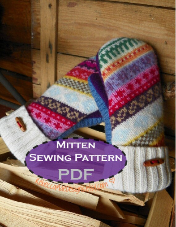 Pdf Mitten Pattern Sewing Diy Pattern Tutorial For Upcycled Etsy