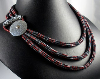 SOLD! Beadweaving: 3-Tiered Herringbone Necklace in Slate Grey & Red with Bali Silver Button/Bar Closure