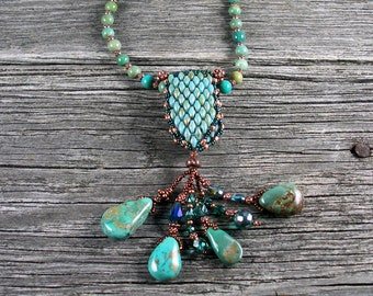 SOLD! Beadweaving: Turquoise Beaded Rope with Superduo, Turquoise, Crystal Pendant