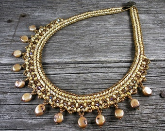"""SOLD! Beadweaving:  Superduo Petite """"Collar"""" Necklace in Ivory with Pearl Drops"""