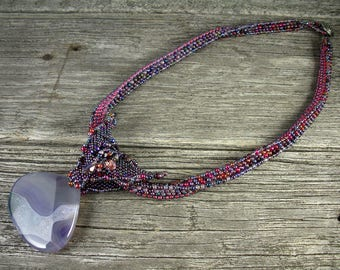 SOLD! Beadweaving: African Polygon Rope with Agate Pendant, Butterfly Bail -- Amethyst and Ruby Colors