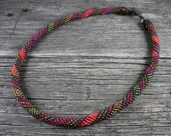 SOLD! Beadweaving: Russian Spiral Rope Necklace in Coral, Green & Burgundy