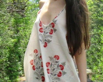 indian bloom - boho hippie festival ethnic indian floral block print modal rayon ivory mini dress xs small