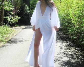 Pure Cotton Gauze Bohemian Dress. White Boho Wedding Dress. Romantic Maxi Dress. Hippie Wedding Dress. Cotton Maxi Dress
