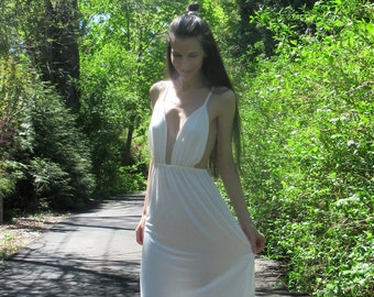 Ivory Bamboo Bohemian Wedding Dress. Bamboo Clothing. Boho Wedding. Engagement Dress. Bridal Party. Eco-Friendly Dress
