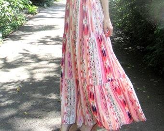 Bohemian Pink Printed Rayon Tiered Maxi Skirt SO SOFT. Unique Print Skirt. Bohemian Clothing, Hippie Maxi Skirt Set. Fall Skirt. Boho Skirt.