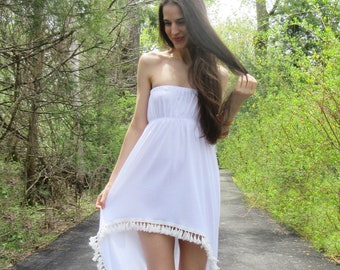 free spirit - white organic cotton bamboo strapless hi low tassel trim hippie festival boho maxi dress xs small
