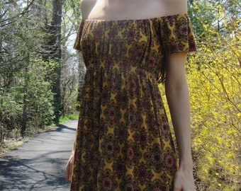 bohemia - super soft rayon unique print golden mustard multi colored boho hippie off shoulder maxi dress with pockets small
