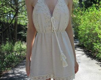 Bohemian Lace Mini Dress. Linen Blend Summer Dress. Boho Chic Dress. Natural Soft Sundress. Floral Lace Dress Hippie Sundress
