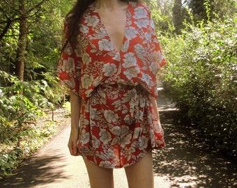 Coral Red Floral Bohemian Kaftan ONE SIZE. Boho Mini Dress. Hippie Dress. Floral Print Kimono. Bohemian Fashion. SOFT Cotton Rayon Dress.