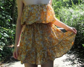 Bohemian Floral Print Cotton Rayon Strapless Ruffle Mini Dress. Hippie Dress. Bohemian Fashion. XS Small Dress Boho Chic Dress. Boho Gift.