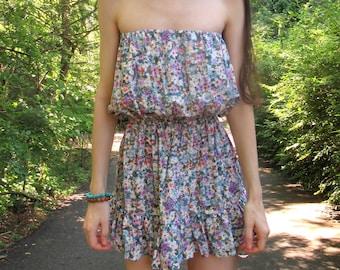 Bohemian Floral Print Rayon Strapless Ruffle Mini Dress. Hippie Dress. Bohemian Fashion. Floral Sundress. Small Summer Dress Boho Chic Dress