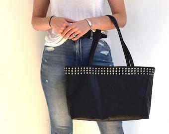 Black Leather Studded Tote Bag Minimalist Purse Shoulder Bag Carry All