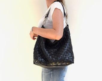 Black Leather Shoulder Bag Purse Hobo