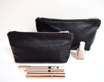 Leather Makeup Bag Cosmetic Bag Pencil Pouch