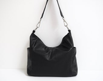 Black Leather Shoulder Bag Purse Tote with Pockets