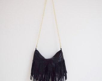 Black Leather Fringe Bag d4f2ab3571ff2