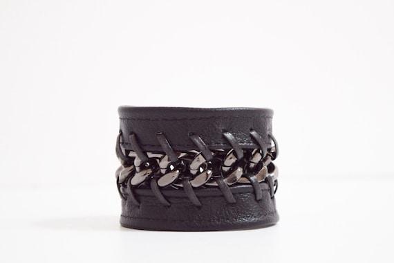 beautiful black leather cuff wristband bracelet