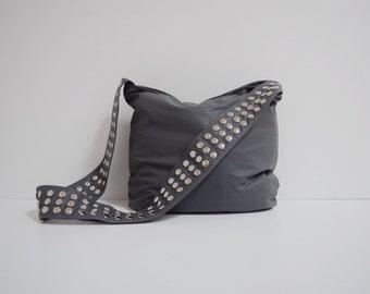 Gray Leather Veronica Mars Bag - Plain Front&Back, Grey Messenger bag, Cross Body Purse, Borse, Bourse, Cuir, Bolso Cuero, Tasche