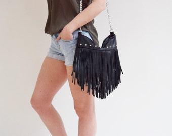 Black Leather Studded Fringe Crossbody Boho Bag