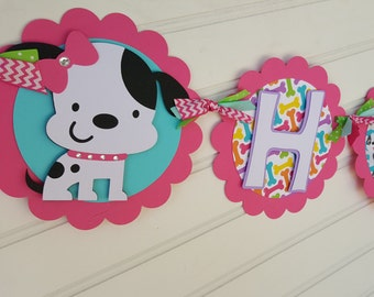 Girl's Puppy banner, Dog banner, purple and aqua banner, Happy Birthday banner OR Name Banner OR It's A Girl banner