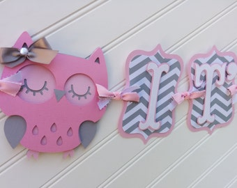 Owl Baby Shower Banner, It's A Girl banner, Baby Banner, Name banner OR Happy Birthday Baby Shower Decorations, Pink and Gray banner
