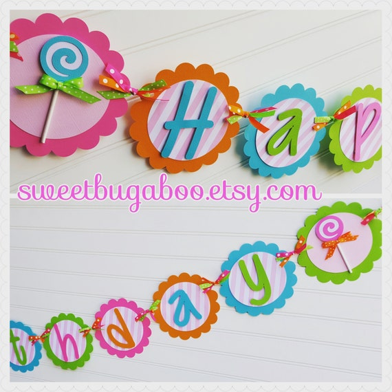 Sweet Treats Birthday Banner. Candyland Banner. Candy Land