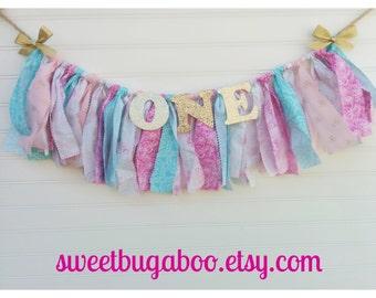 Shabby Chic Fabric banner, fabric garland