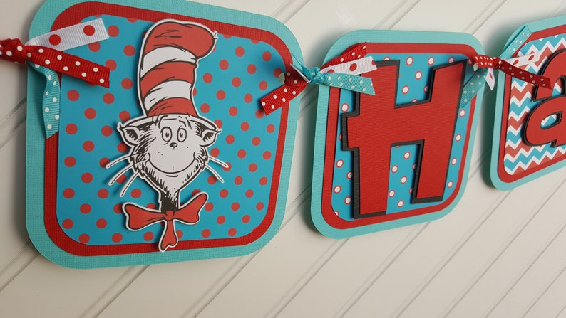 Cat In The Hat Happy Birthday Or Name Banner Dr Seuss Party Etsy