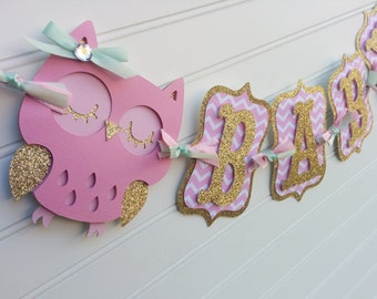 Owl Baby Shower Banner, It's A Girl banner, Baby Banner, Baby Shower Decorations, Pink and Gold banner. Owl Decorations. Owl Baby Shower.