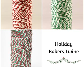 10 + Yards x 2 mm Wide Holiday Bakers Twine, Red Green, 100% Cotton, 12-ply, for Gift Wrap, Holiday Gifts, Packaging and Crafts