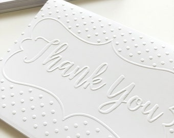 """Thank You Card Set, White Blank Folded Embossed Notecards with Envelopes, Textured Greeting Note Cards, for Wedding, Teacher A2 5.5"""" x 4.25"""""""