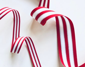 """Red White & Silver Striped Ribbon, by the Yard, 5/8"""" or 1.5"""" Double Sided, Christmas Ribbon, Candy Stripe, Made in USA, 5/8 or 1 1/2 inch"""