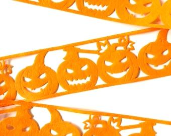 "Orange Pumpkin Halloween Ribbon, 2 1/2 Inch, Die Cut Acrylic Felt, by the Yard, Trim for Crafts, Gift Wrap, Decorations, Packaging, 2.5"""