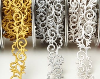 """Adhesive Fleur de Lis Ribbon, 7/8 Inch Wide, Gold Silver or White, by the Yard, Scroll Trim for Wedding, Card Making, Scrapbooking, 7/8"""""""