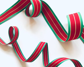 """Red Green & Gold Striped Ribbon, by the Yard, 5/8"""" or 1 3/8"""" Double Sided, Christmas Ribbon, Metallic Stripe, Made in USA, 5/8 or 1 3/8 inch"""