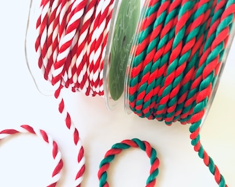"""Twisted Rope Cord Ribbon, 5 + Yards x 1/4 Inch Wide, Red White or Red Green, Christmas Ribbon, Candy Stripe, .25"""" 1/4"""""""