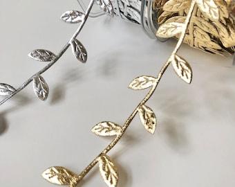 "Silver or Gold Leaf Ribbon, 3/4 Inch, by the Yard, Metallic Vine Garland Trim for Wedding, Card Making, Headbands, Scrapbooking, 3/4"""