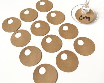 25 Wine Glass Drink Tags, Kraft or White Blank Simple Name Tags for Parties Weddings and Holidays, Minimalist Stem Name Markers, Set of 25