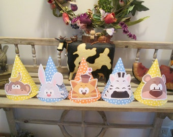 Peek-a-Boo Animals Party Hats Set of 15 with Free Shipping