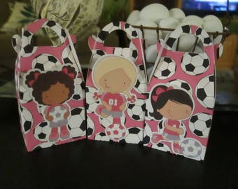 Girl Soccer Players Gable Favor Boxes Set of 18 with Free Shipping