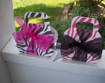 Chic Zebra Print Purse Favor Boxes set of 12 with Free Shipping