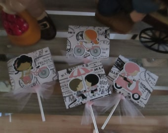 A Day in Paris Lollipop Party Favors  Set of 24 with Free Shipping