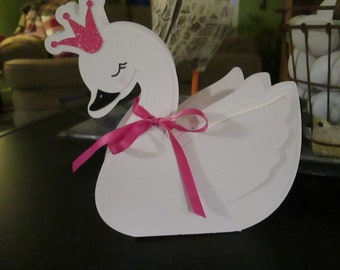Swan Princess Favor Box Set of 12