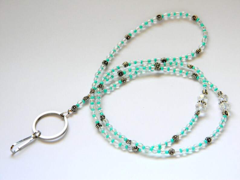Cute key lanyard Luciana with clear glass beads detailsNeck ID holderID holders necklaceID holder neck strapNeck badge holderphoto id
