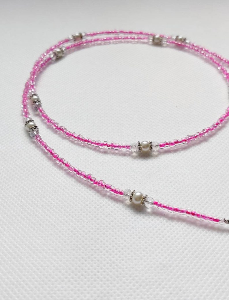 mask necklace beads Rose beaded pink mask chain lanyard holder