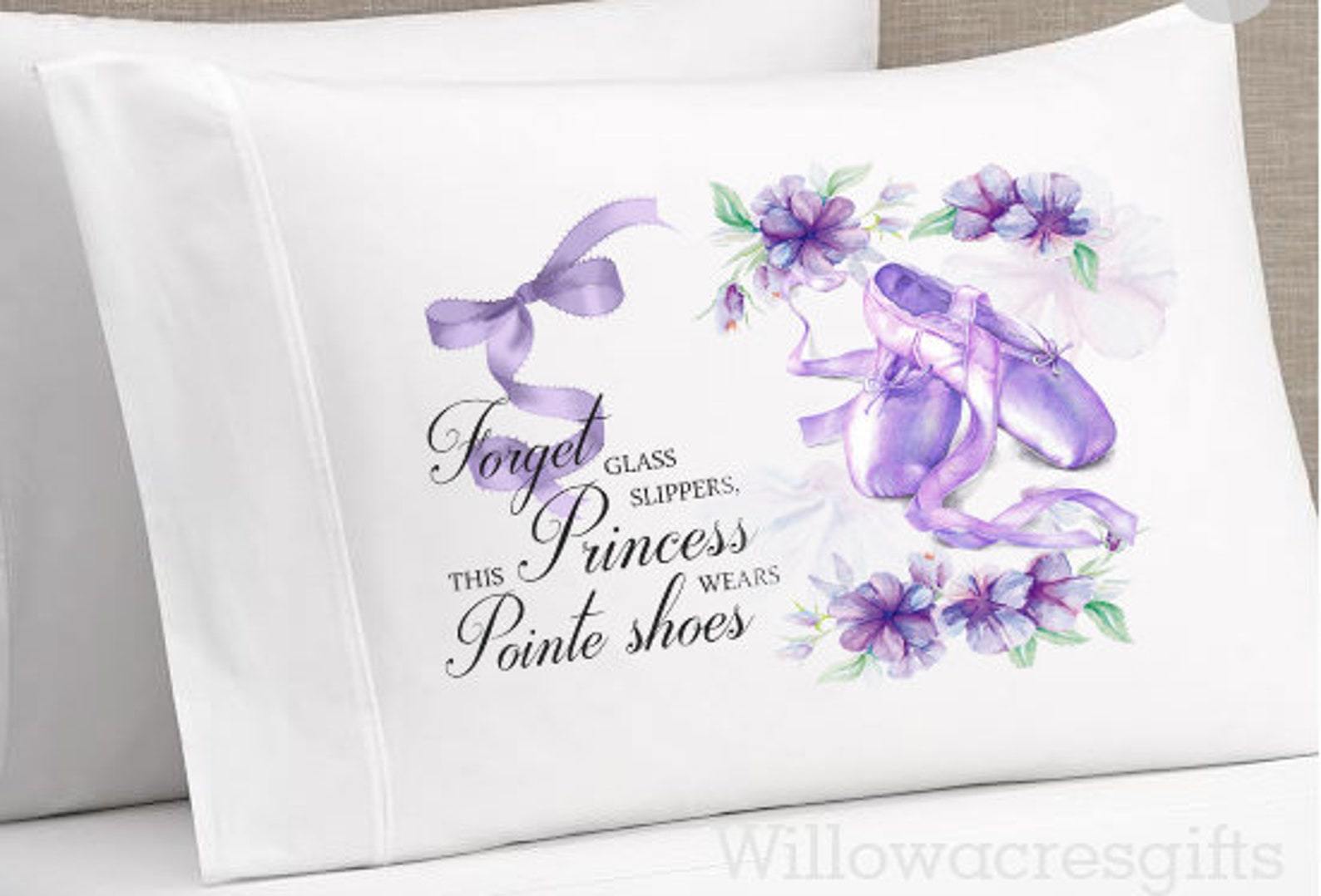 digital pillowcase design, ballet shoes sublimation design, dance design