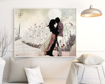 Large Wall Art, Love Painting, Love Couple Paintings, The Kiss, Canvas Print