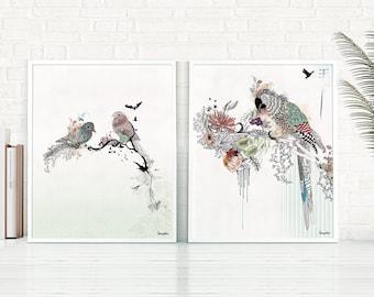 Bird Print Set, Wall Art Set, Home Decor Wall Art, Set Of 2 Prints, Living  Room Decor, Birds Painting, Set Of 2 Wall Decor, Bird Wall Art