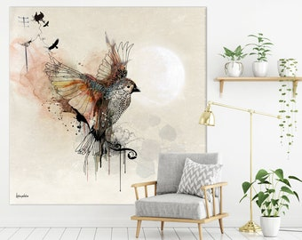Large Wall Art, Modern Watercolor Painting, Extra Large Canvas Art, Large Bird Painting, Modern Wall Art, Living Room Wall Art, Canvas Print
